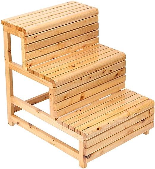 QQXX Taburete de Madera Maciza Escalera de Madera Maciza Taburetes de pie multifuncionales para niños Baño en casa Antideslizante 3 peldaños 225 kg de Capacidad (Color Madera): Amazon.es: Hogar
