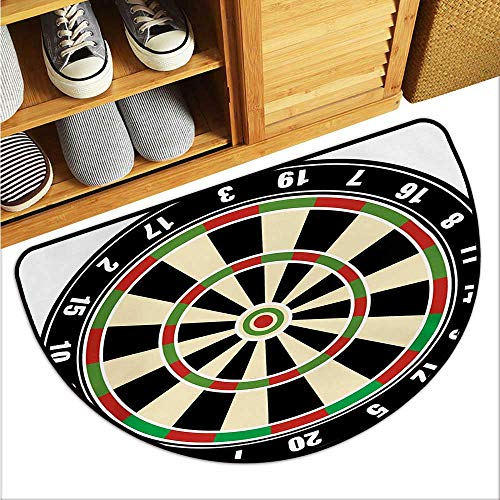 (warmfamily Sports Thin Door mat Dart Board Numbers Sports Accuracy Precision Target Leisure Time Graphic Environmental Protection W35 x L23 Vermilion Green Black)