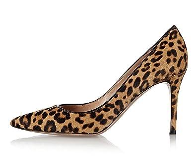 1be3971665856 Emiki Femme Escarpins Léopard Talons Hauts Pointed High Heels Stilettos Grande  Taille Femme Chaussures-Léopard