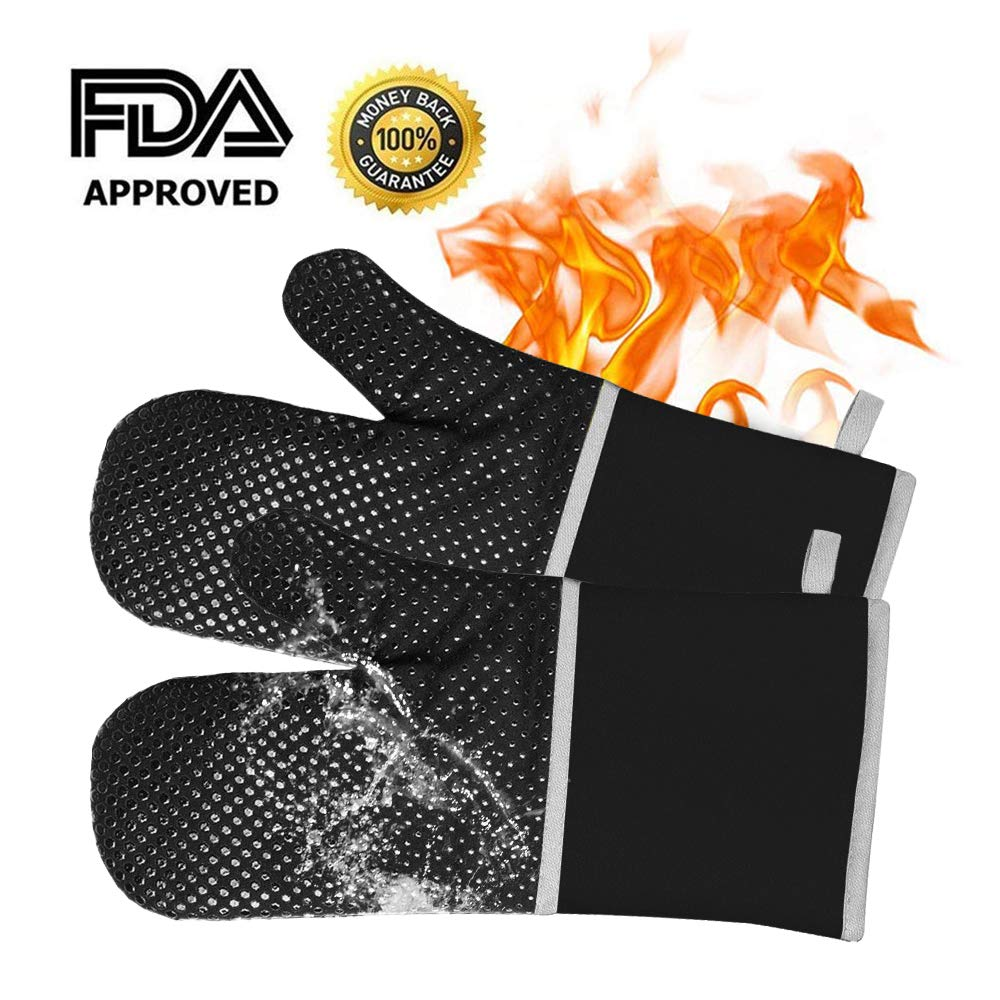 Silicone Oven Mitts, Oven Gloves Extra Long Heat Resistance with Quilted Cotton Lining, Kitchen Gloves, Mitts for Cooking, Grilling, Baking, Barbecue Potholder- 1 Pair, Black