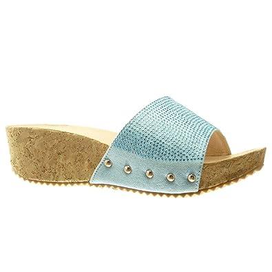 Angkorly - Chaussure Mode Mule Sandale plateforme femme strass diamant clouté liège Talon compensé plateforme 5 CM - Vert - PN1550 tRp1ma