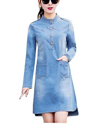 Bininbox Vintage Damen Jeanskleid Langarm Denim Blusenkleid Hemd