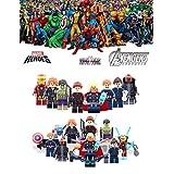 ABG toys 8 Minifigures MARVEL DC Comics Avengers Civil War Super Heroes Captain America, Thor, Black Widow, Hawkeye, Hulk, Iron Man, Maria Hill, Nick Fury Minifigure Series Building Blocks Sets Toys