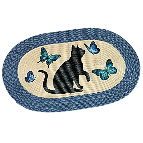 Cat And Butterflies Braided Accent Rug, 19 1/2'W x 30'L, Blue