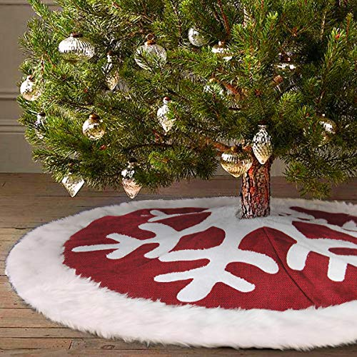 "Ivenf 48"" Luxury Red Burlap Snowflake Christmas Tree Skirt with White Thick Plush Faux Fur Trim, Rustic Xmas Tree Holiday Decorations"