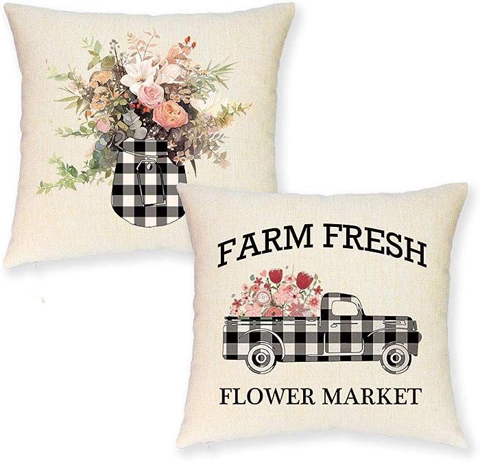 JYNHOOR Set of 2 Farmhouse Spring Throw Pillow Covers –18x18 Inch Buffalo Plaid Farmhouse Truck Farm Fresh Flower Summer Pillow Covers for Home Decor-Decorative Cushion Cover