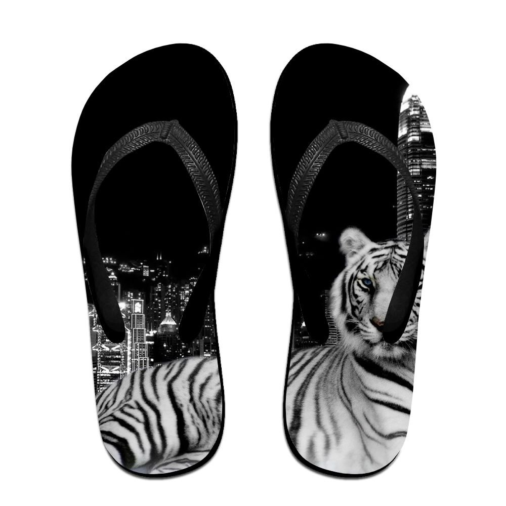 Couple Flip Flops Tiger City Print Chic Sandals Slipper Rubber Non-Slip House Thong Slippers