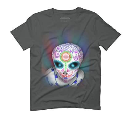 2867e6eb7d01 alien sugar skull Men's Small Anthracite Graphic T-Shirt - Design By Humans