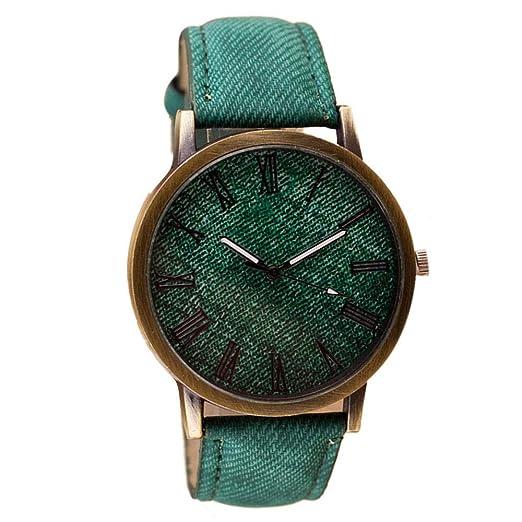 Firally Relojes, Retro Reloj de Pulsera Cowboy Cuero Banda Cuarzo Reloj analógico, Relojes de Pulsera Relojes Digitales Verde: Amazon.es: Relojes
