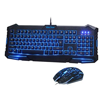 Meetion computadora teclado Gaming retroiluminado con mouse Combo USB LED Set de teclado y mouse (Negro): Amazon.es: Electrónica