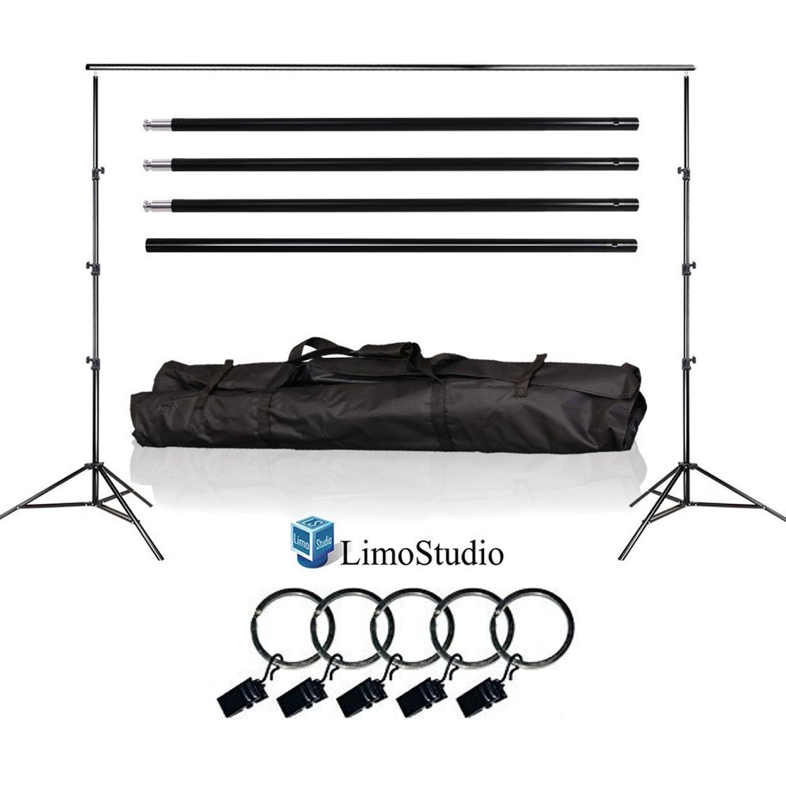 LimoStudio Photo Video Studio 10Ft Adjustable Muslin Background Backdrop Support System Stand, 5x Backdrop Helper Holders Kit with Bag, AGG1395 by LimoStudio
