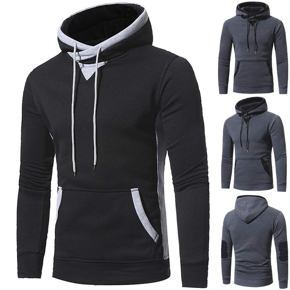 Black,XL iLXHD Mens Pullover Casual Pocket Long Sleeve Hoodie Blouse