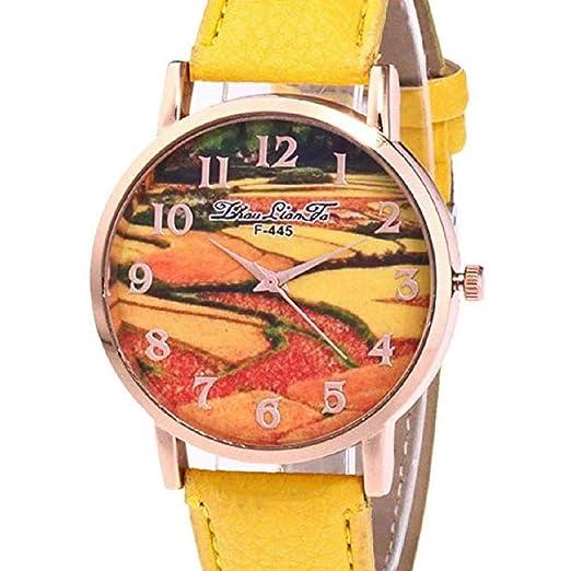 Scpink Relojes de Cuarzo para Mujeres, Liquidación analógica a la Venta Patrón de Campos en terrazas Relojes para Mujeres Relojes para Mujeres Relojes de ...