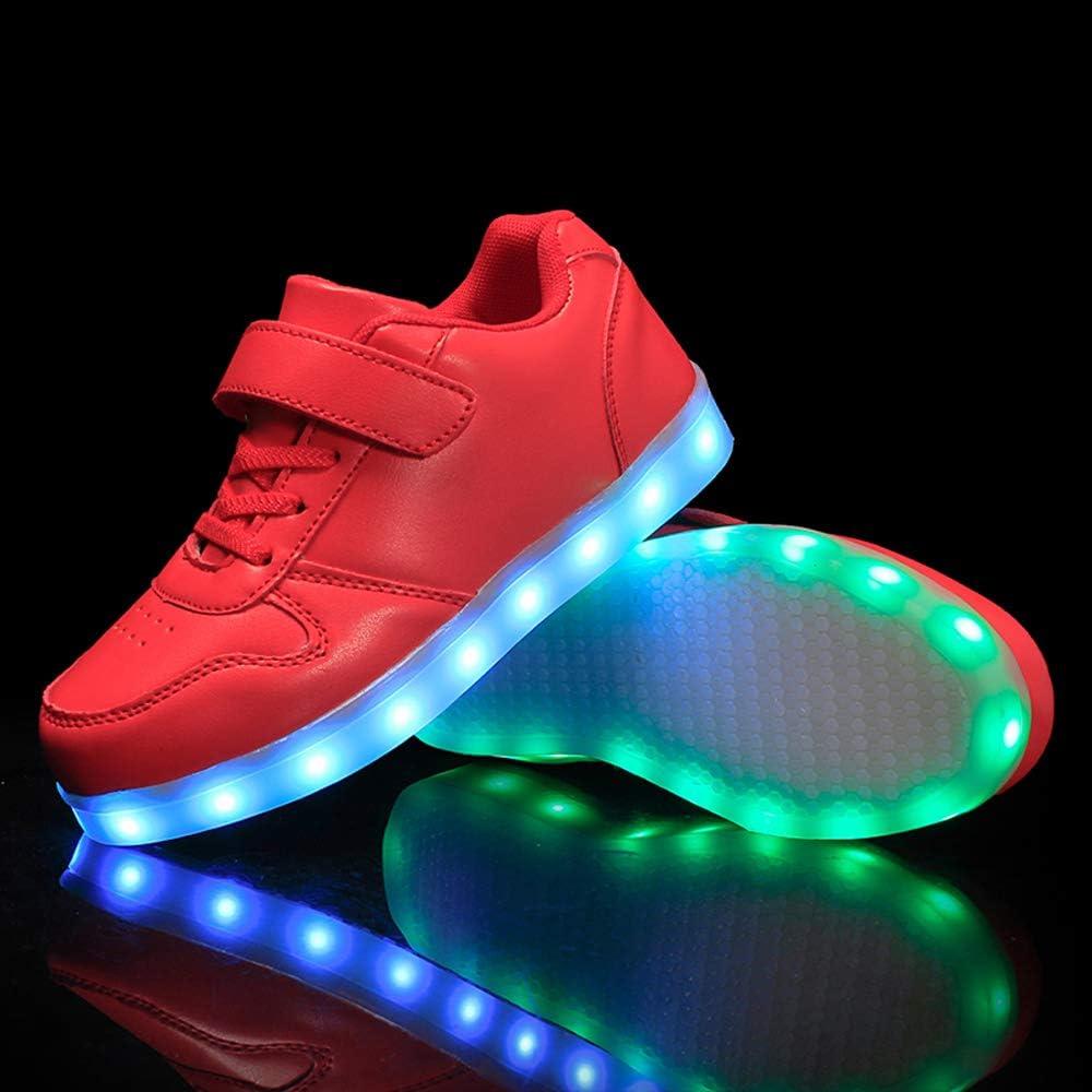 Gar/çon Fille LED Chaussures,7 Couleurs Lumineuse Clignotant USB Rechargeable Shoes Sneaker,de Sports D/écontract/ée Disco F/ête Baskets pour,Danse de Rue Danse fantomatique,Chaussures Montantes,P/âques,