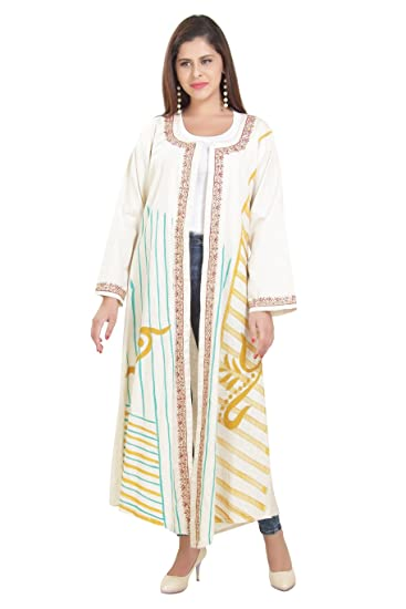 c60d2f4d376c Long Sleeve Ethnic Linen Gown Indian Cotton Jacket Cardigan C-145 (XS) Cream