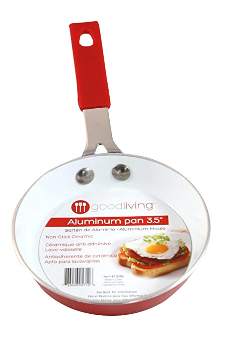 "Good Living 3.5"" Fast-Heating Aluminum Single-Egg Pan, Red, ..."