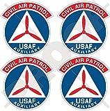 "CIVIL AIR PATROL Emblem CAP Badge US Air Force Auxiliary USAF USA United States of America. American 2""(50mm) Vinyl Bumper Stickers, Decals x4"