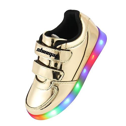 Shinmax Infancia Dorada Serie Zapatillas LED Multi Color USB de Carga de Niños Zapatos con Luces para Niño y Niña con el CE Certificado: Amazon.es: Zapatos ...