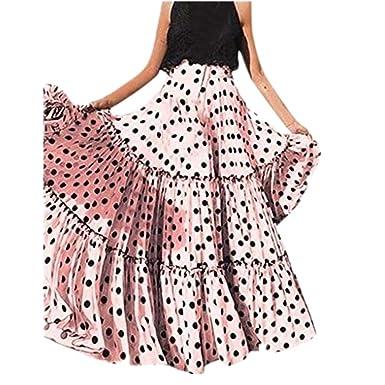 d4e4853f1 Vectry Moda Mujer Cintura Alta Lunares Falda Estampada Falda Plisada con  Volantes Sueltos