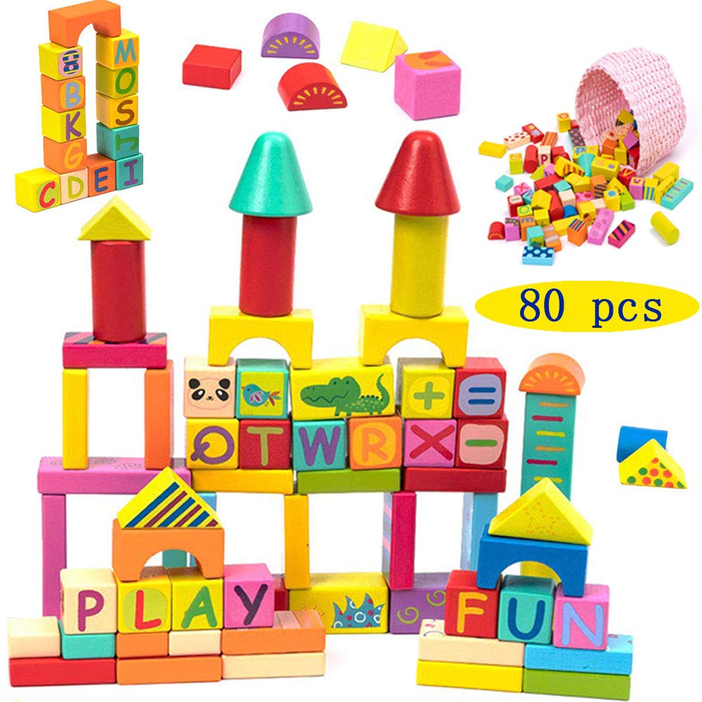 Lotfuntoys 木製積み木セット 80個の文字 数字 動物のブロック & 1つの美しいバスケット | 教育玩具 子供 幼児 男の子 女の子用   B07PM4HQGP