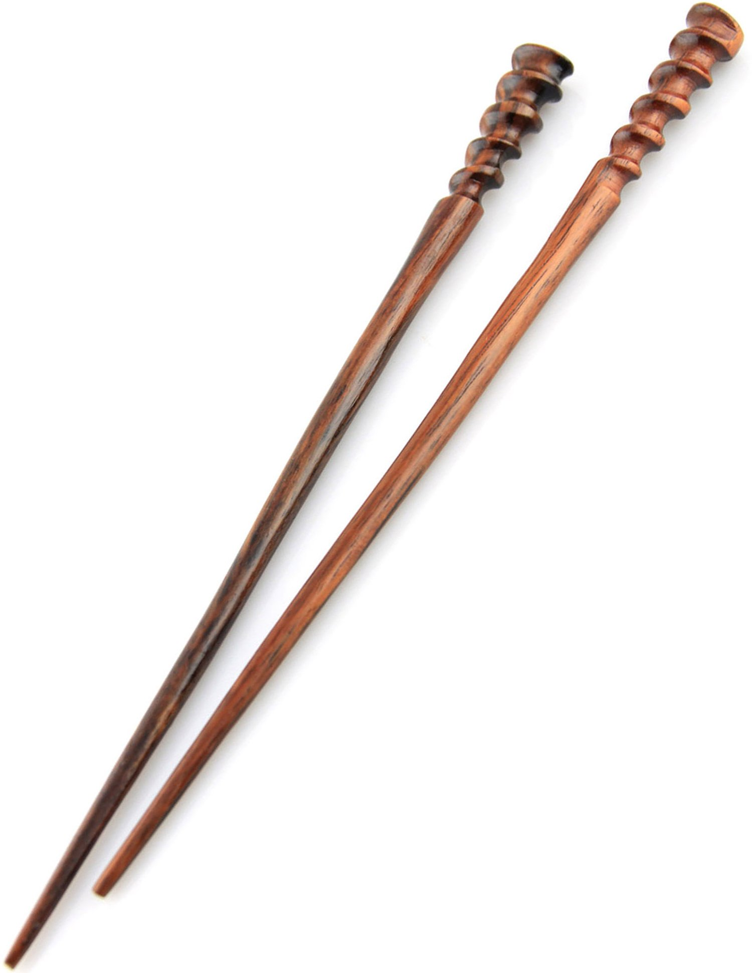 Natural Hair Pin Chopsticks - Pair of Spiral Hair Sticks for Women and Men - Hand Carved Wood Styling Pin Set - Fine Cut Spiral - 7.5 Inches Long