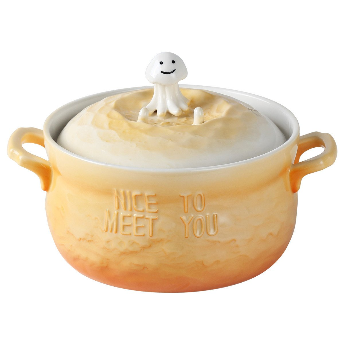 UPSTYLE Microwave Oven Ceramic Soup Bowls 3D Cute Ocean Animal Orange Jellyfish Instant Noodle Bowl Cereal Serving Pot/Casserole for Salad Fruit with Lid and handle,29oz (Orange Jellyfish)