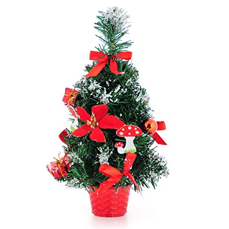 Solmore 30x17cm Christmas window display olden red sticky white Christmas decoration tree Christmas tree bonsai Decor red
