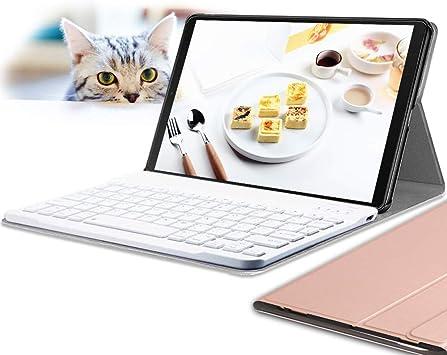 Wineecy Galaxy Tab A 10.1 2019 Teclado Funda SM-T510/T515(QWERTY), Funda de Cuero con Desmontable Inalámbrico Bluetooth Teclado para Samsung Galaxy ...