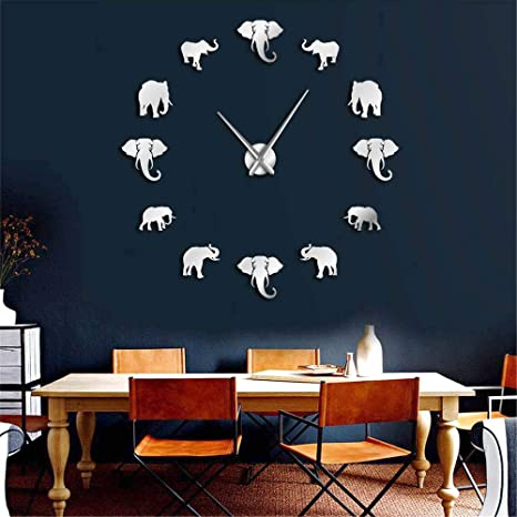 Elephant In Room That Needs To Be >> Djkaa Jungle Animals Elephant Diy Large Wall Clock Home Decor Modern