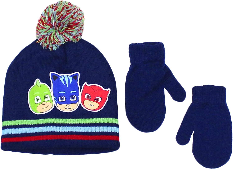 Elegant Headwear Toddler Boy Beanie Hat With Mittens Winter Accessory Set PJ Masks Navy