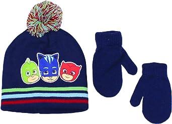 PJ Masks Navy Elegant Headwear Toddler Boy Beanie Hat With Mittens Winter Accessory Set