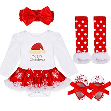 Amazon.com: Freebily Newborn Baby Girls First Christmas Outfit Costumes Romper Tutu Dress Xmas Clothing Set Red Santa Hat 6-9 Months: Clothing