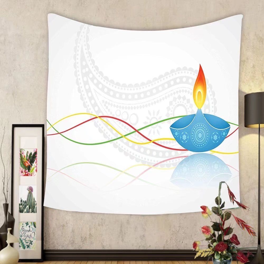 Gzhihine Custom tapestry Diwali Decor Tapestry India Religious Festive Fire Candle Image with Modern Paisley Backdrop Print for Bedroom Living Room Dorm Multicolored