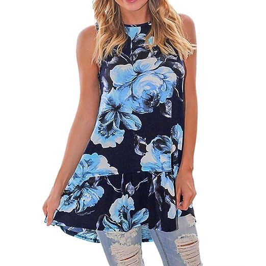 902a19c86591f BCDshop Tanks Women Ladies Floral Print Tunic Tank Tops Sleeveless Shirt  Vest Halter Long Blouse (