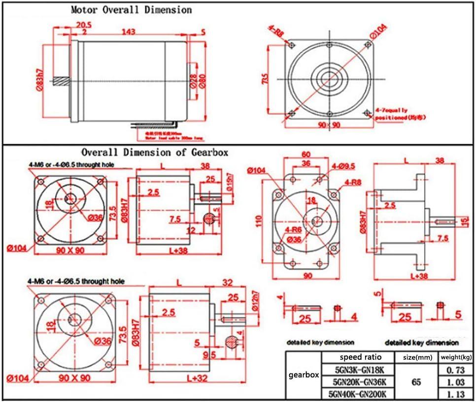 ZGQA-AOC Reducci/ón Motorreductor DC 24V 90W 10-1000rpm CW//CCW im/án Permanente de tasa Ajustable Motor de Engranajes con Pernos for Dispositivos industriales Inicio Aplicaciones 15K