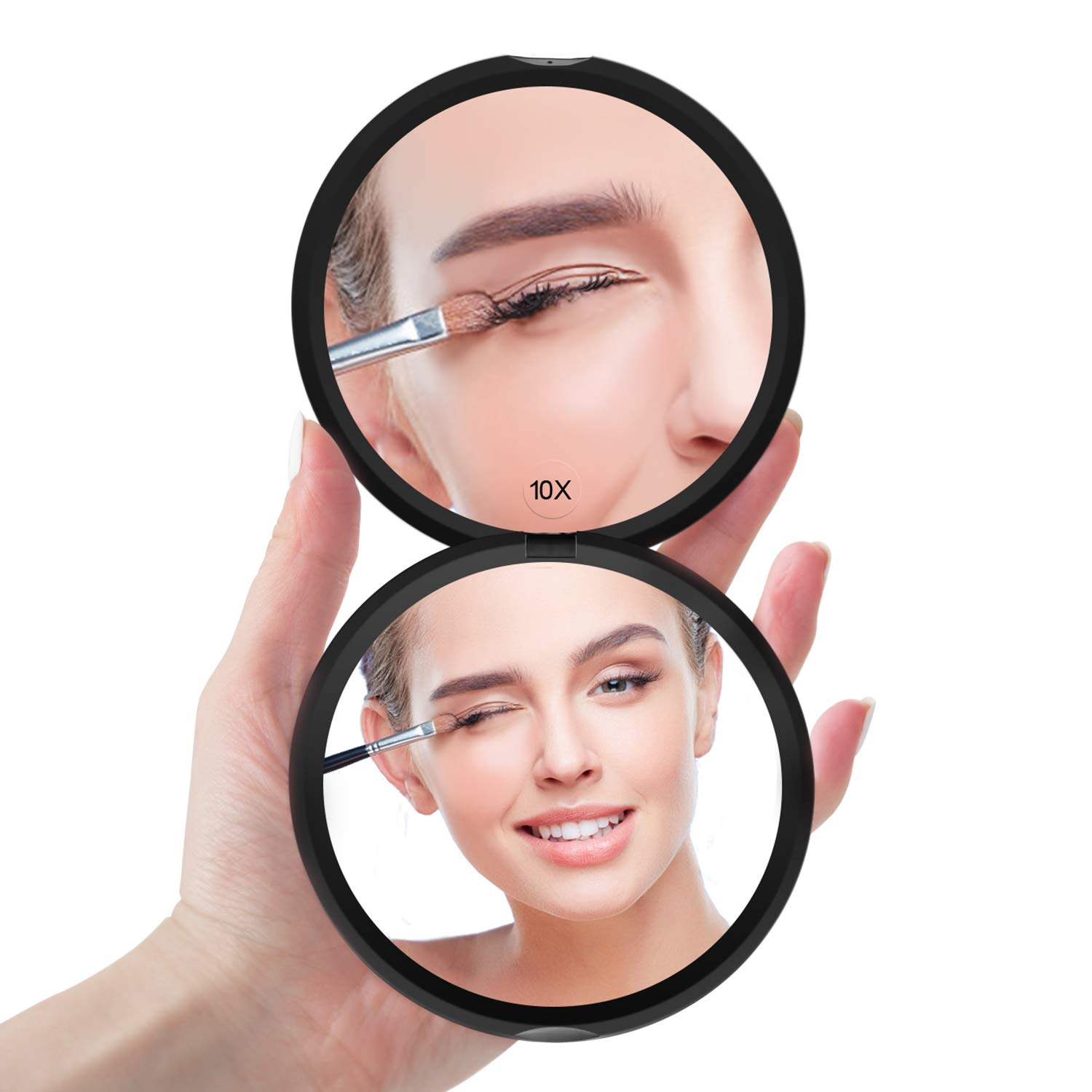 Magnifying Compact Mirror for Purses – Benbilry Double Sided Travel Makeup Mirror with 10X Magnification, 4 Inch Small Pocket Mirror, Portable Folding Great Compact Cosmetic Mirror Black