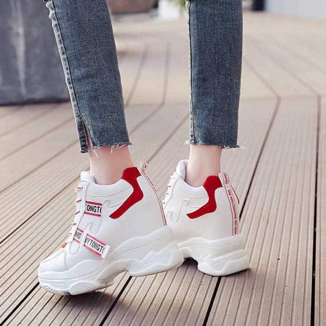 Zapatillas Altas De Mujer Zapatillas De Plataforma Plataforma De Malla Botines Canasta Color Mezclado Moda Running Zapatos De Senderismo Cordones Zapatillas De Aumento De Altura
