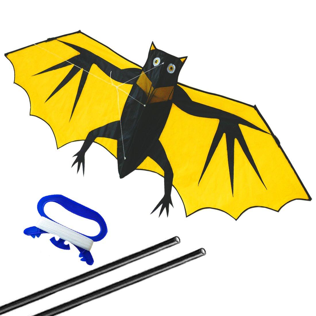 ZHONGRAN Kite Kids /Huge Bat Kite Easy Flyer Assemble - Single Line 3D Design- Best Kites the beach - the Best Gift Kids Adults.