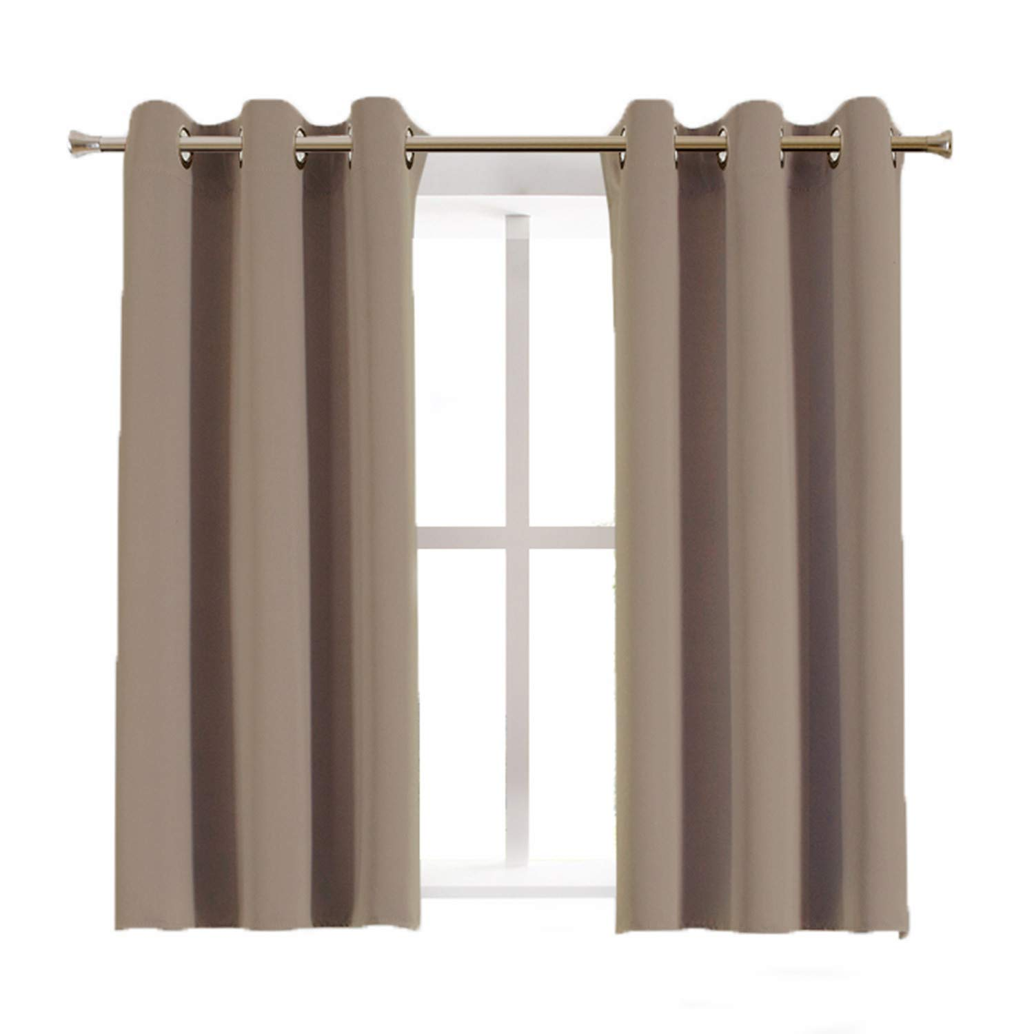 Aquazolax Blackout Curtain Panels for Kitchen Nursery Essential Thermal Insulated Solid Grommet Top Blackout Draperies/Drapes, 1 Pair, 42 x 45 Inch, Taupe/Khaki