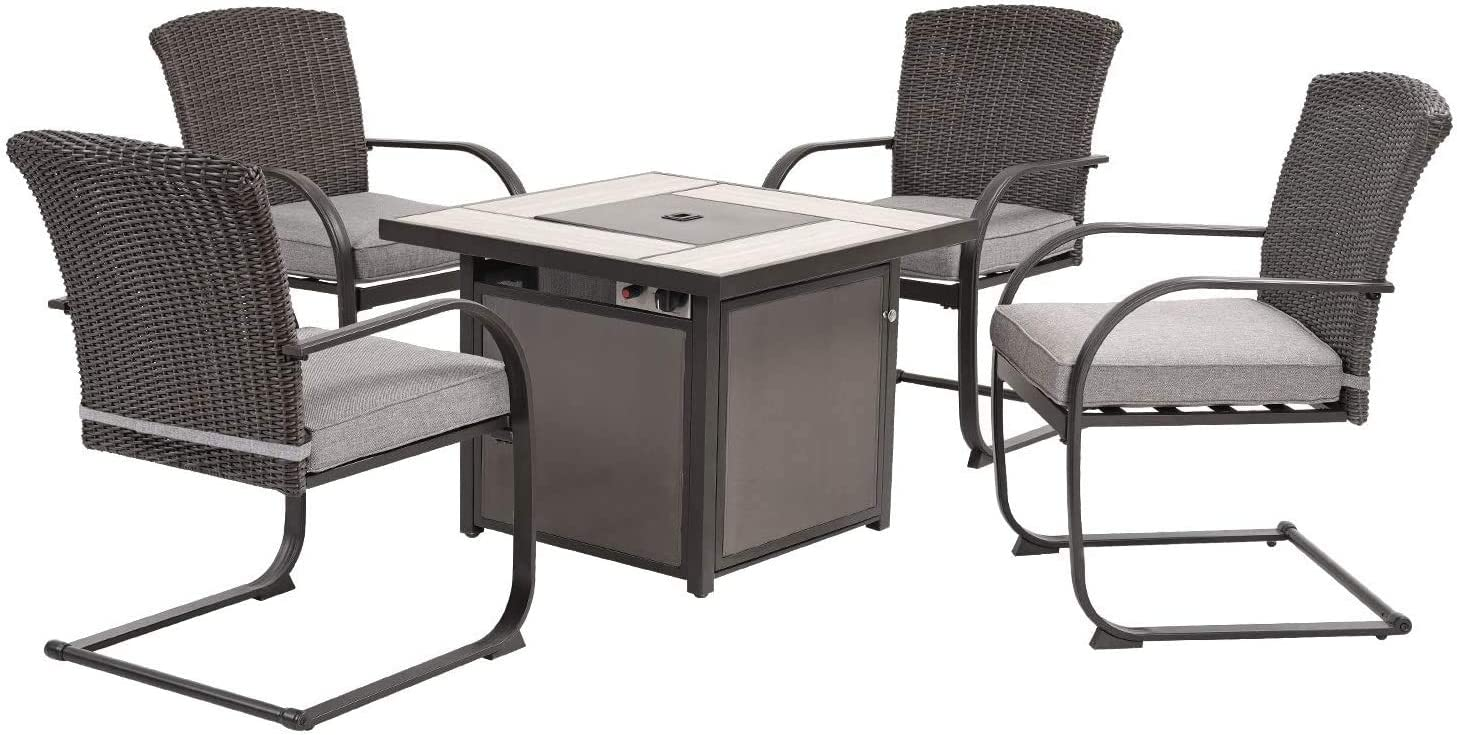 Grand patio 5 Piece Outdoor Conversation Set, Spring Motion Wicker Chairs with 32 Inch Propane Gas Square Fire Pit Table