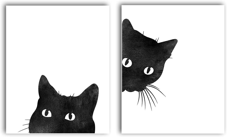 Black Cat Print Set of 2- Unframed, Wall Decor, Living Room Wall Decor, Cat Decor, Watercolor Painting, Cat Lover Gift, Black Cat, Cat Art Print (8