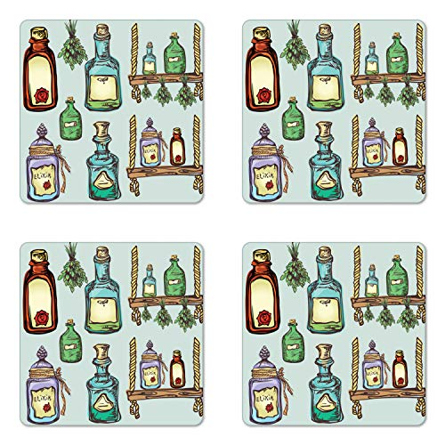Ambesonne Apothecary Coaster Set of Four, Retro Alchemy Magic Craft Elixir Herbal Cure Chemists Halloween Recreation Theme, Square Hardboard Gloss Coasters for Drinks, Multicolor ()
