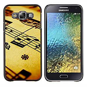 KLONGSHOP // Cubierta de piel con cierre a presión Shell trasero duro de goma Protección Caso - La notación musical - Samsung Galaxy E5 E500 //