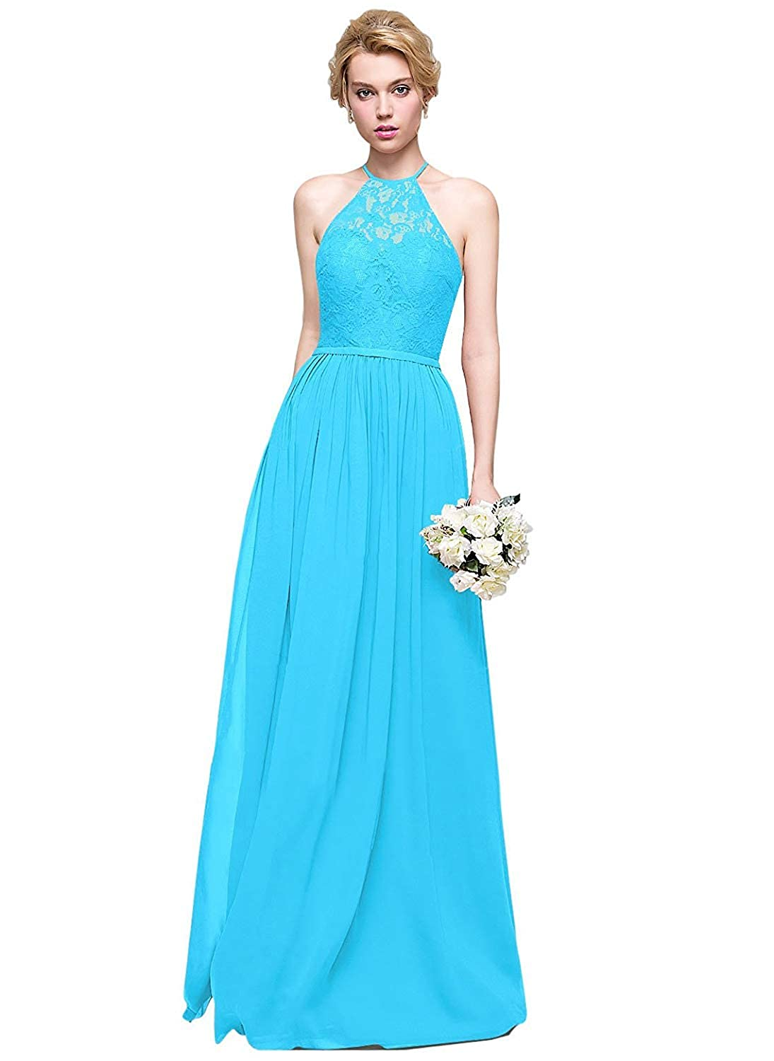 bluee Halter Lace Sweetheart Neck Bridesmaid Dresses Long Prom Evening Gown