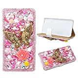 Evtech(tm) Butterfly Pink Rhinestone Bling Crystal Glitter Book Style Folio PU Leather Wallet Case with Handbag Phone Holder & Card Slots for iPhone6 plus/iPhone 6s plus