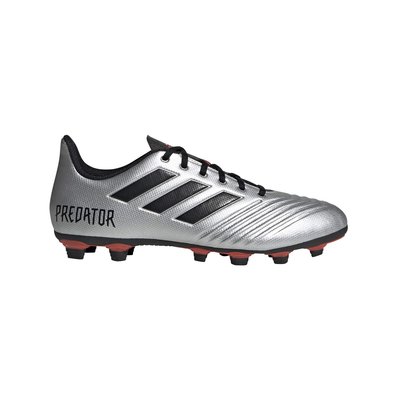 adidas Men's Predator 19.4 Firm Ground Soccer Shoe, Silver Metallic/Black/hi-res red, 8.5 M US by adidas