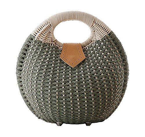 Tonwhar Lady's Stylish Shell Shape Straw Tote Handbag Rattan Beach Bag (Army Green)