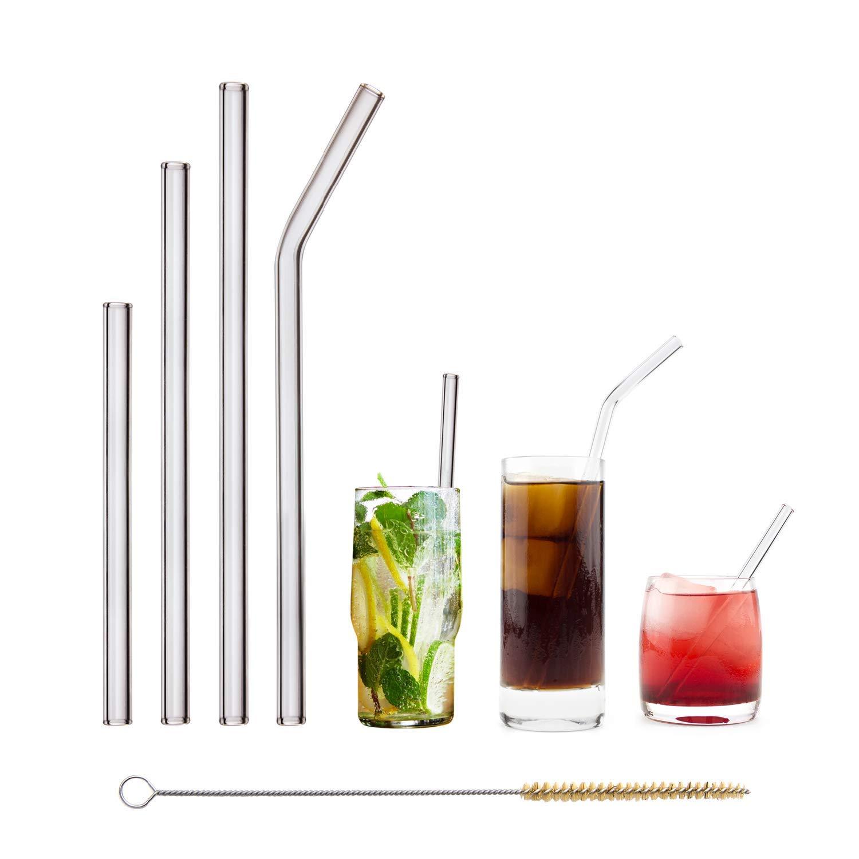 HALM PAILLE EN VERRE réutilisable - Mix Paquet - lot de 4 différentes tailles de pailles + brosse de nettoyage garantie sans plastique - bon pour l'environnement, résistant - lavable en lave-vaisselle