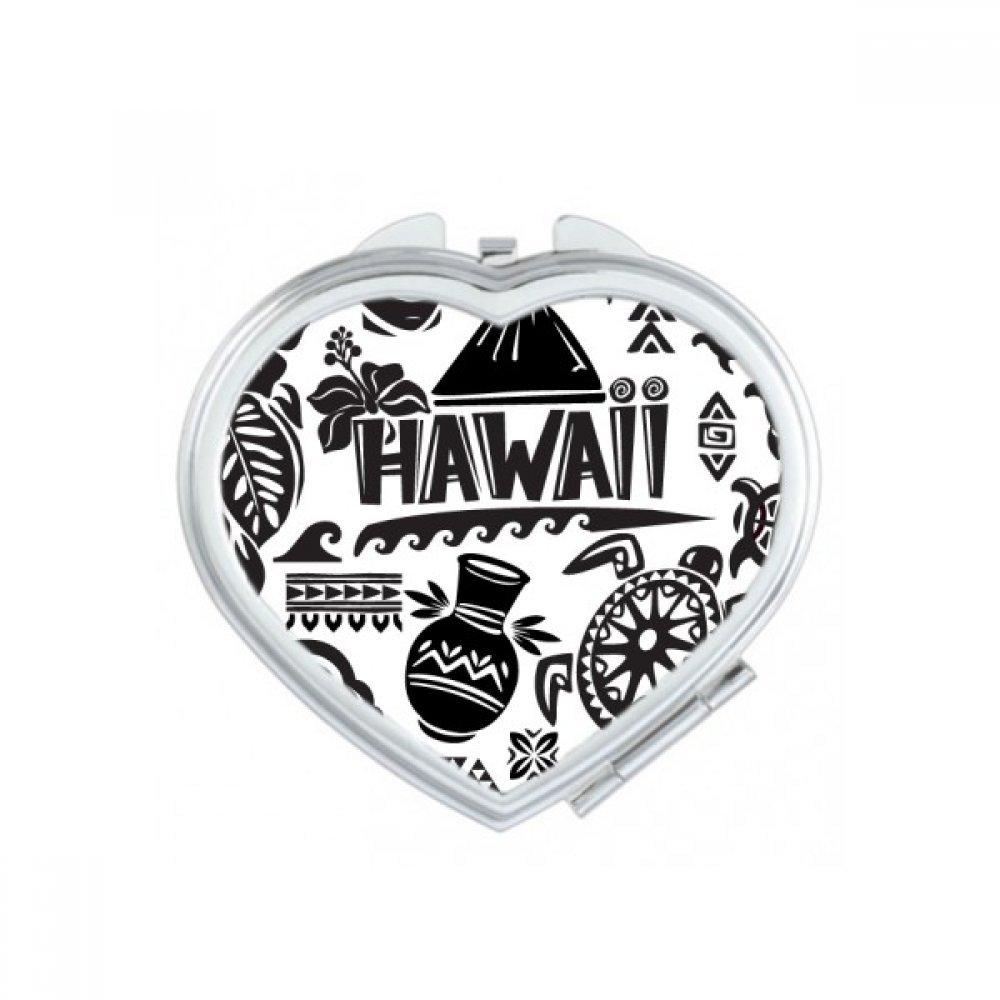 Hawaiian Islands Celebrate Silhouette America Heart Compact Makeup Pocket Mirror Portable Cute Small Hand Mirrors Gift