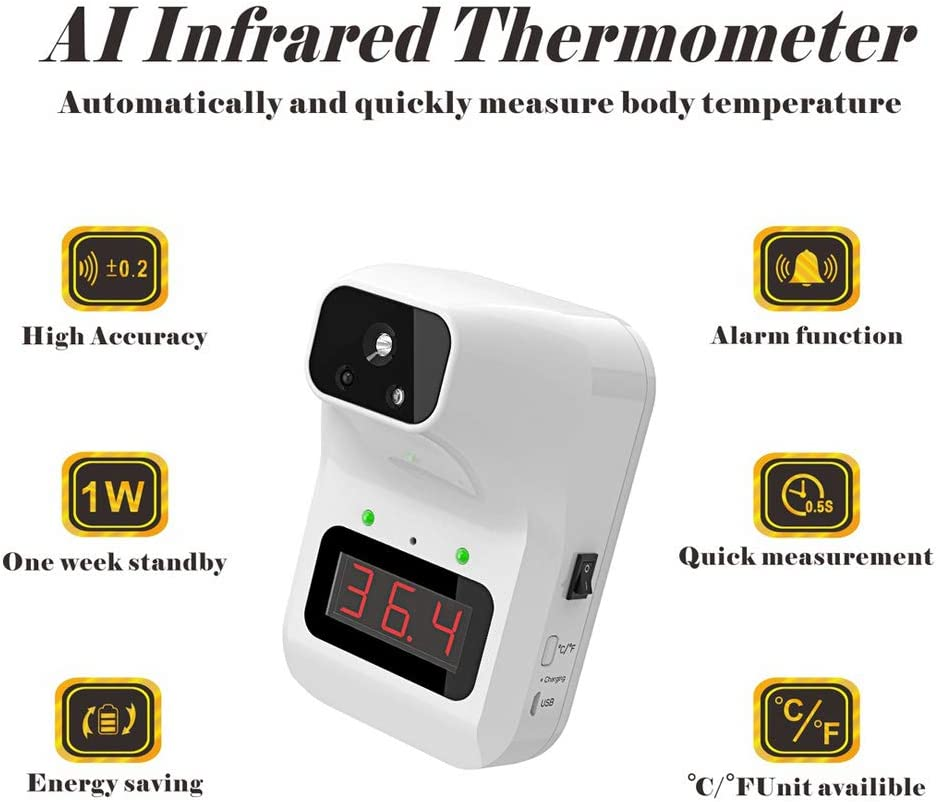 JJIIEE Non-Contact Forehead Body Infrared Thermometer,Wall-Mounted 0.5S Quick Test Temperature with Fever Alarm for Office Home Supermarket Subway School Community Entrance